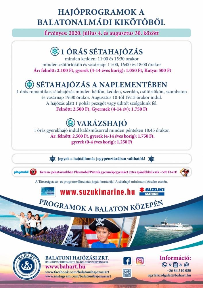 Gyerekhajó kalózos programmal Balatonalmádiból 2020. Varázshajó a nyári főszezonban