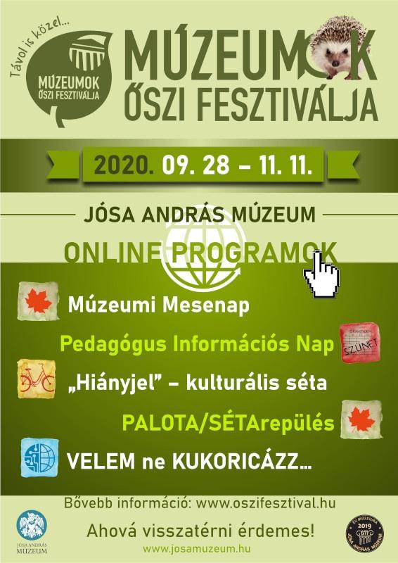 Múzeumok Őszi Fesztiválja Nyíregyháza 2020. Jósa András Múzeum programok