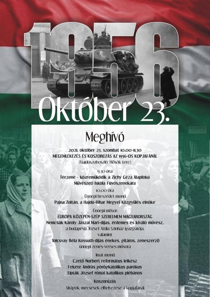 Október 23 Hajdúszoboszló 2021. Városi ünnepség az 1956-os forradalom és szabadságharc tiszteletére