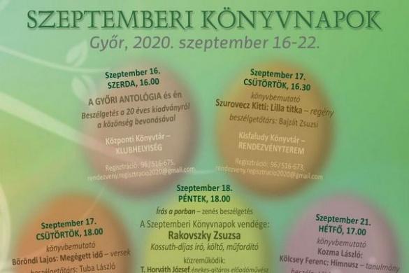 Ünnepi Könyvhét 2020. Szeptemberi Könyvnapok Győr